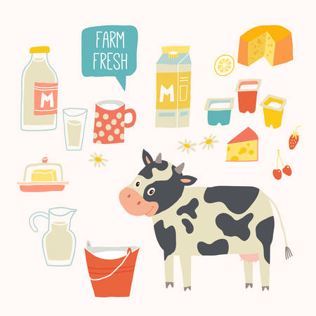 Farm fresh set. Cow and products - milk, yogurt, cheese, butter, milkshake. Vector illustration, isolated on white. Vector hand drawn eps 10 clip art illustration isolated on white background.