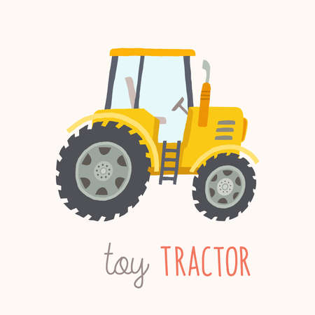 traction engine: Funny cartoon yellow tractor.