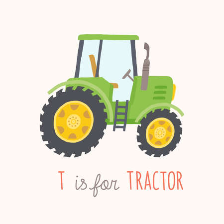 Green hand drawn tractor.