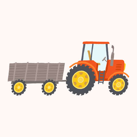 Red tractor with trailer. Toy tractor. Stock Photo