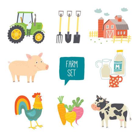 Farm icon set. Stock Illustratie