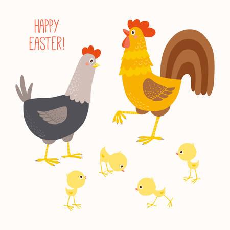 행복한 치킨 가족. 일러스트