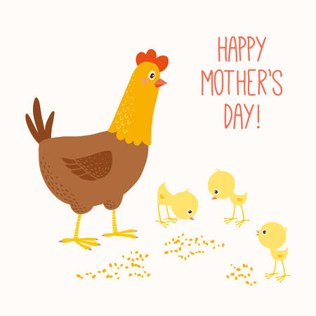Happy mother hen with baby chicks.