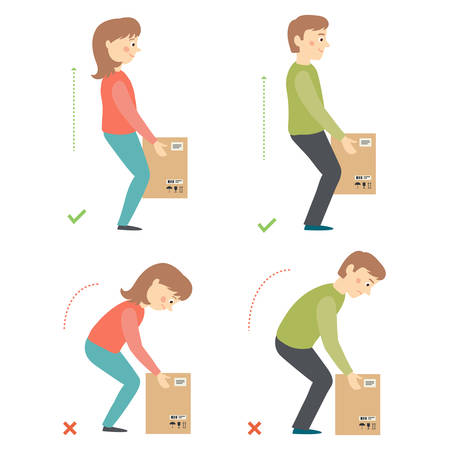 Correct and Incorrect Activities Posture in Daily Routine - Lifting Weight. Illustration
