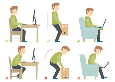 Man cartoon character. Correct and Incorrect Activities Posture in Daily Routine - Sitting and Working with a Computer, Lifting Weight.