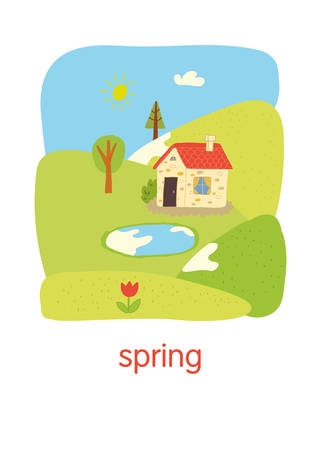 Spring. Educational flash card.