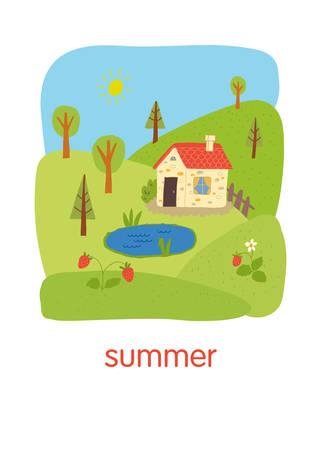 Summer. Educational flash card. School activity book vector eps 10 hand drawn illustration. Illustration