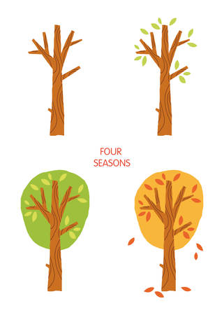 Tree in four seasons - spring, summer, autumn, winter.