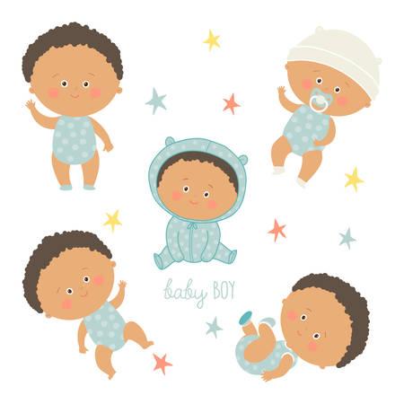 latin american boys: African baby set. African American toddler boys. Illustration