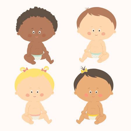 dark skin: Multi-ethnic set of four babies sitting toddler girls and boys.