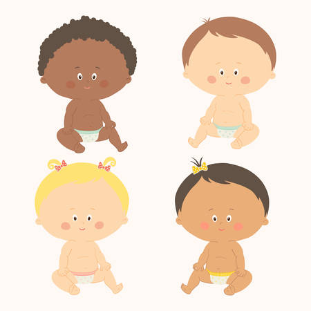 Multi-ethnic set of four babies sitting toddler girls and boys.