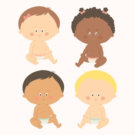 Multi-ethnic set of four babies sitting. Toddler girls and boys. Cartoon vector hand drawn illustration isolated on white background
