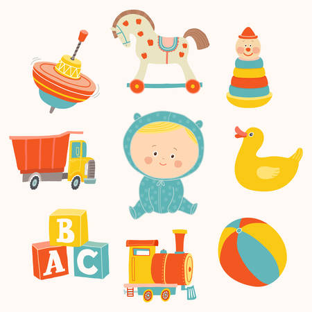 Baby boy with toys : ball, blocks, rubber duck, rocking horse, toy train, pyramid, spinning top, toy truck.