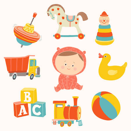 Baby girl with toys : ball, blocks, rubber duck, rocking horse, toy train, pyramid, spinning top, toy truck.
