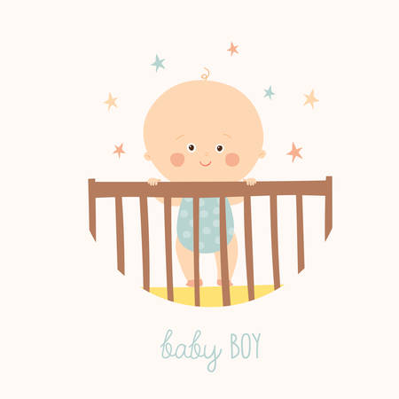 little one: Cute Baby 1 year old standing in Crib. Baby shower design element.
