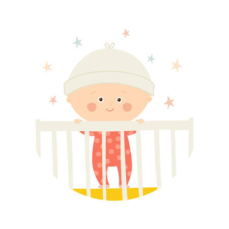 Cute Baby 1 year old standing in Crib. Baby shower design element.