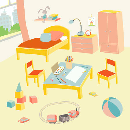 Childrens bedroom interior with furniture and toys. Kids playroom in flat style. Hand drawn cartoon illustration on white background. Baby shower design elements.