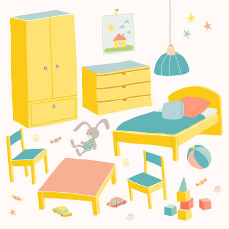 Set of furniture for children room. Kids small furniture.Bed, table with childrens chairs, wardrobe and chest. Hand drawn cartoon illustration on white background. Baby shower design elements.