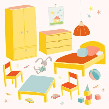 Set van meubels voor de kinderkamer. Klein kindermeubilair. Bed, tafel met kinderstoelen, kledingkast en kist. Hand getrokken beeldverhaalillustratie op witte achtergrond. Baby douche ontwerpelementen.