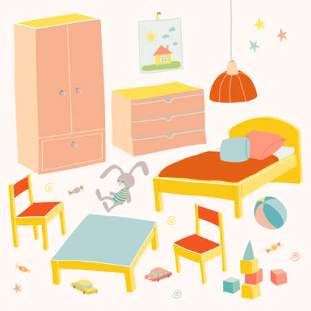 Set of furniture for children room. Kids small furniture for little girl. Bed, table with chairs, wardrobe and chest. Hand drawn cartoon illustration on white background. Baby shower design elements
