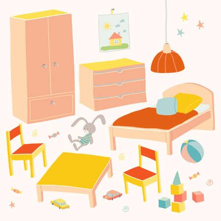 Set van meubels voor de kinderkamer. Kleine kindermeubels.Bed, tafel met kinderstoelen, kledingkast en kist. Hand getrokken beeldverhaalillustratie op witte achtergrond. Baby douche ontwerpelementen.