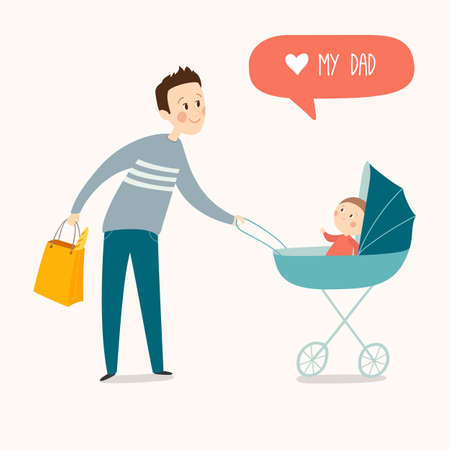 Father with baby in stroller. Young father pushing baby in pram. Cartoon vector eps 10 illustration isolated on white background.