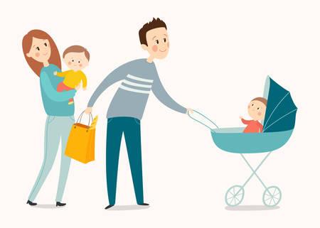 Happy family walking. Cartoon vector illustration isolated on white background.