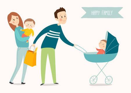 Happy family poster. Cartoon vector illustration isolated on white background. Illustration
