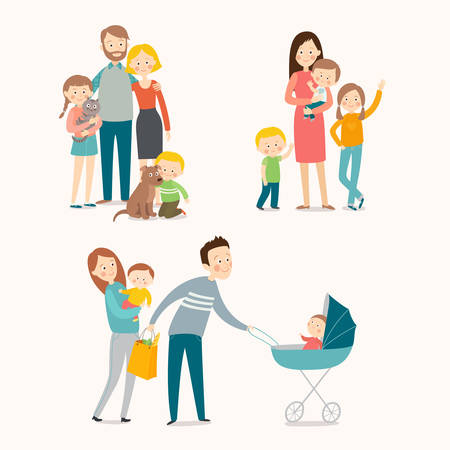 Family and kids in cartoon illustration.