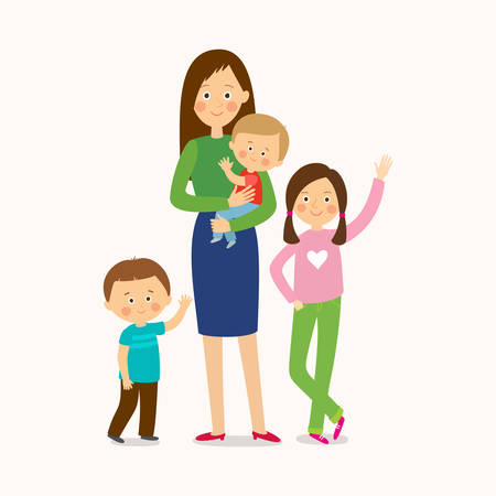 Mother with three children. Happy family. Cartoon vector illustration isolated on white background in a flat style.
