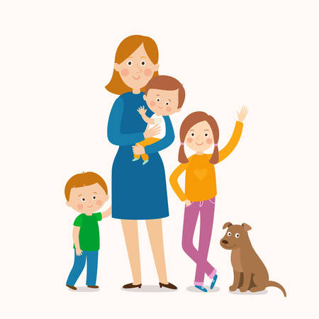 Mother standing with her three children. Happy family. Cartoon vector illustration isolated on white background in a flat style. Çizim