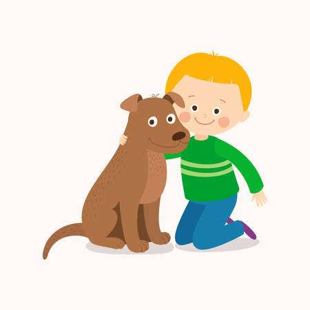 Child lovingly embraces his pet dog. Best friends.