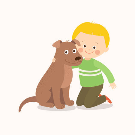 Little boy, child, kid with a brown dog friend, companion.