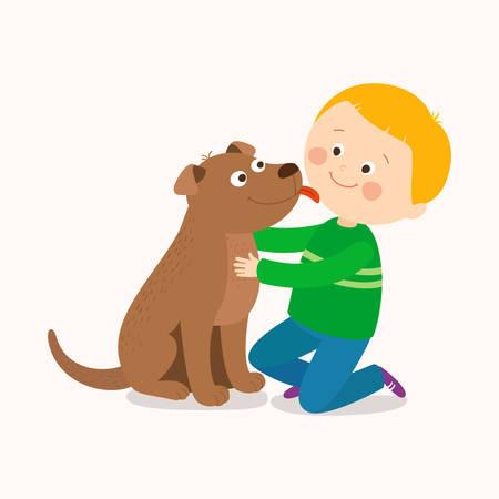 A little dog licking a boys cheek. Best friends. Cartoon vector hand drawn clip art illustration on white background.