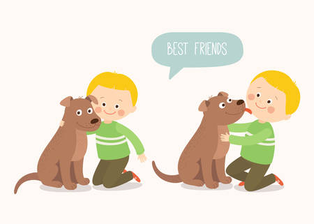 Child lovingly embraces his pet dog. A little dog licking a boys cheek. Best friends. Cartoon vector clip art illustration on white background in flat style. Stock Illustratie