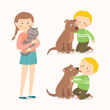 Children and pets. Child lovingly embraces his pet dog. Little dog licking boys cheek. Teenage girl with her cat. Best friends. Cartoon vector clip art illustration on white background.