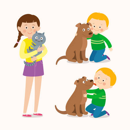 Children and pets. Child lovingly embraces his pet dog. Little dog licking boys cheek. Teenage girl with her cat. Best friends. Cartoon vector clip art illustration on white background. Stockfoto - 103381673