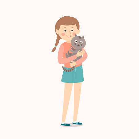 Happy child with a cat. Teenage girl with her cat. Best friends. Cartoon vector clip art illustration on white background.