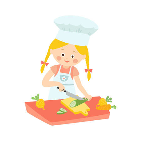 Little girl in apron cooking, cutting, slicing cucumber for salad, cartoon vector illustration isolated on white background. Cartoon girl cutting cucumber, helping mother with cooking.