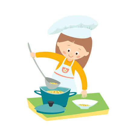 Little girl cooking a soup. Little chef. Vector hand drawn  clip art illustration isolated on white background. Иллюстрация