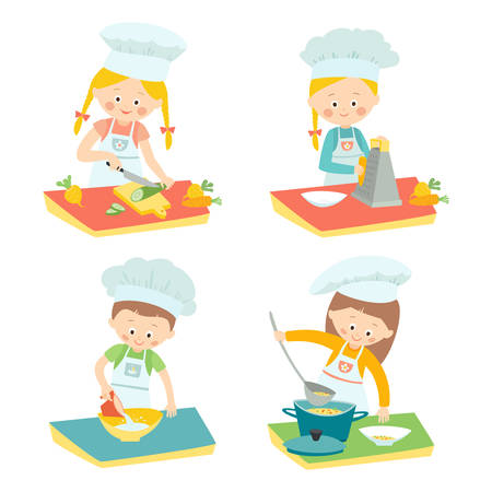 Kids cooking. Children on a culinary class. Little chefs. Vector hand drawn  clip art illustration isolated on white background. Stock Illustratie