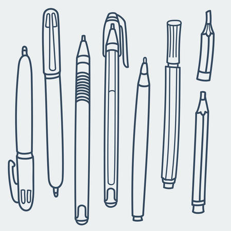 Sketchy Doodles Set of Writing and Drawing Utensils, Tools, Supplies for school and office: pen, pencil, felt pen. Cartoon vector illustration on white background. Flat colors