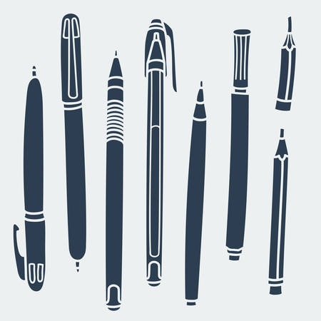 Sketchy Doodles Set of Hand-Drawn Outline Writing and Drawing Utensils , Tools, Supplies for school and office: pen, pencil, felt pen. Cartoon vector illustration on white background. Flat colors. Illusztráció