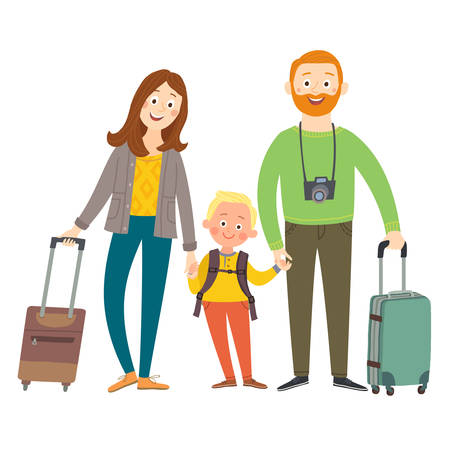 Traveling family on vacation. Happy family with luggage. Cartoon vector eps 10 illustration isolated on white background in a flat style Vettoriali