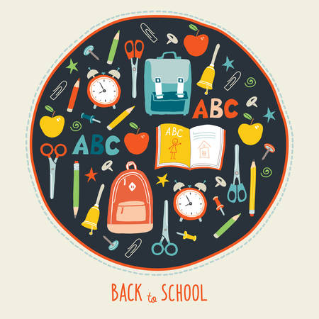 First day of school background. Card concept. Poster design. Set of funny hand drawn school icons. Vector clip art eps 10 illustration in flat style Ilustração