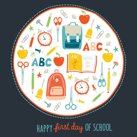 First day of school background. Card concept. Poster design. Set of funny hand drawn school icons. Vector clip art eps 10 illustration in flat style Vettoriali
