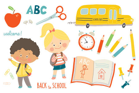 School set. Funny hand drawn characters and objects. Children with backpacks. School bus, school supplies. Education background. Flat style. Cartoon vector clip art illustration on white background. 向量圖像