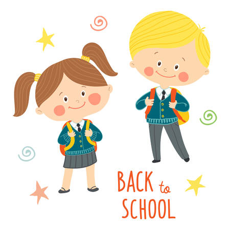 Funny hand drawn kids in school uniforms with schoolbags. Cute boy and girl with backpacks. Back to school card design.Cartoon vector clip art eps 10 illustration on white background in flat style.