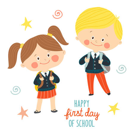 Funny hand drawn kids in school uniforms with schoolbags. Cute boy and girl with backpacks. Happy first day of school card design.Cartoon vector eps 10 illustration on white background in flat style