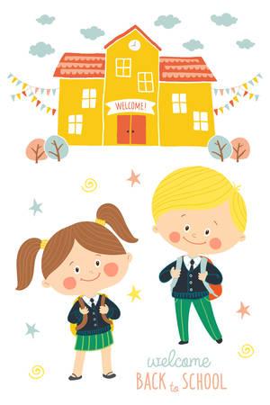 Back to school card design. Children going to school in school uniforms and with schoolbags. Preschool girl and boy in schoolyard. School building exterior. Cartoon vector illustration in flat style